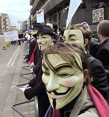Members of the group Anonymous wearing Guy Fawkes masks at a protest against the Church of Scientology in London, 2008.