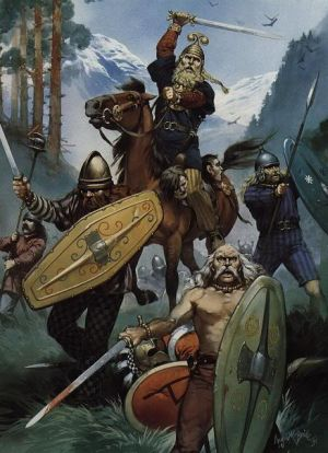 Illustration showing Celtic warriors - the mounted warrior has severed heads hanging from his horses neck. © Angus McBride