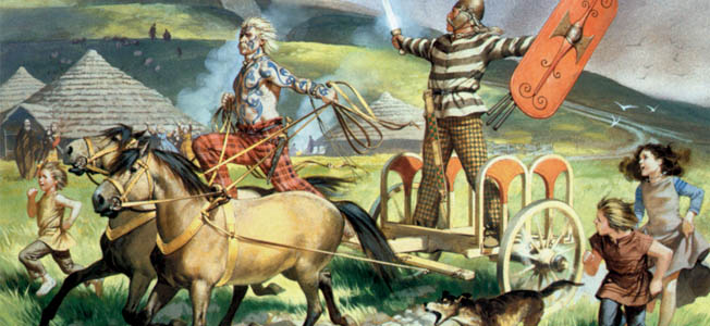 Some typicaly boisterous ancient Celts with some typicaly Celtic round house in the background.